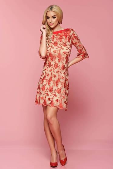 Rochie eleganta LaDonna rosie cu croi larg din material dantelat