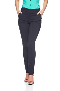 Pantaloni office conici Fofy albastru-inchis cu buzunare