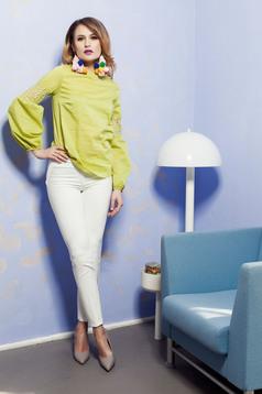 Pantaloni office PrettyGirl albi conici cu buzunare