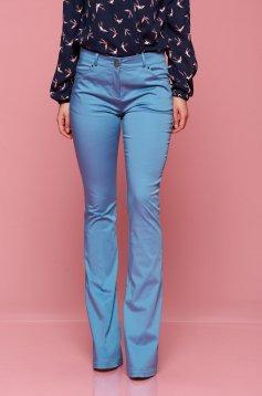 Pantaloni office evazati PrettyGirl albastri cu buzunare