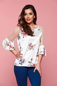 Bluza dama cu maneci clopot alba cu imprimeuri florale