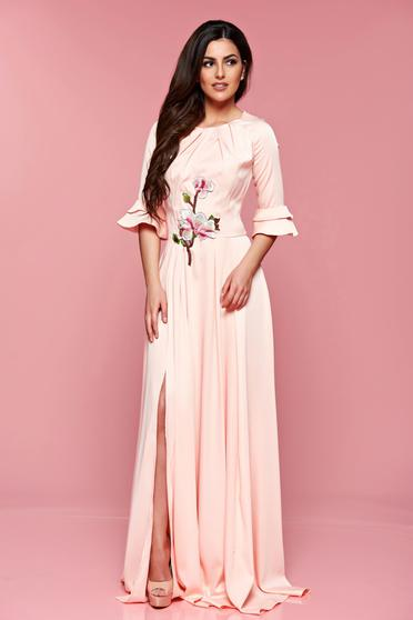 Rochie eleganta lunga Artista rosa cu maneci clopot