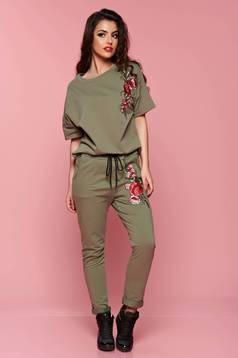 Bluza dama cu maneca scurta verde cu insertii de broderie