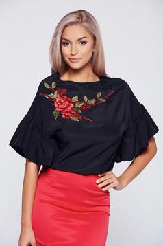 Bluza dama StarShinerS neagra brodata eleganta cu maneca scurta