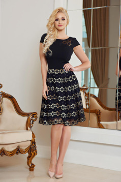 Rochie eleganta din material dantelat StarShinerS neagra cu maneca scurta