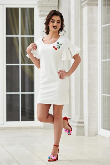 Rochie StarShinerS alba eleganta brodata cu maneci clopot