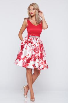 Rochie de ocazie in clos StarShinerS rosie cu imprimeuri florale