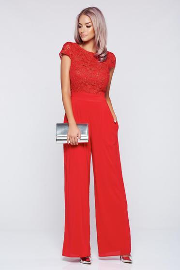 Salopeta StarShinerS rosie eleganta din material dantelat cu maneca scurta