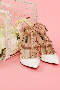 Pantofi cu varful usor ascutit alb cu tinte metalice