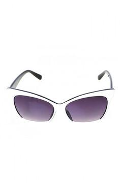 Ochelari de soare cu lentile cat-eye alb