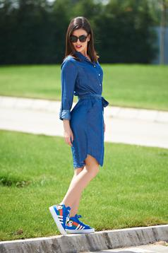 Pantofi sport cu siret Adidas Originals CourtVantage albastru cu print
