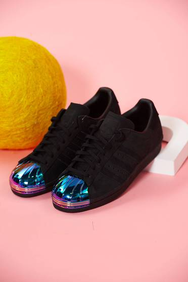 Pantofi sport din piele naturala Adidas originals superstar 80s metal toe negru cu siret