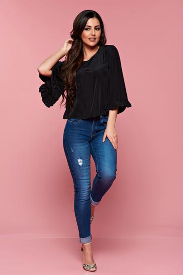 Bluza dama casual StarShinerS neagra din material vaporos