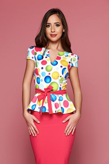 Bluza dama eleganta Fofy corai cu imprimeuri cu buline peplum