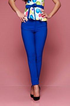 Pantaloni office Fofy albastri conici cu talie medie