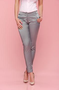 Pantaloni cu talie medie PrettyGirl gri conici
