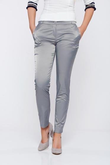 Pantaloni PrettyGirl gri conici cu talie medie