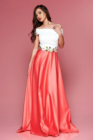 Rochie eleganta lunga Artista roz cu insertii de broderie