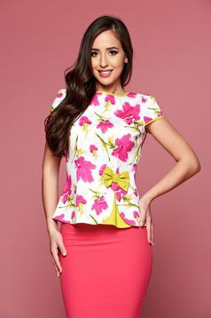Bluza dama cu maneca scurta Fofy alba cu imprimeu floral
