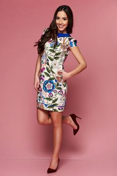 Rochie de zi cu croi larg Fofy albastra cu imprimeuri florale