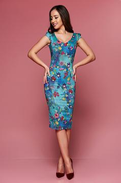 Rochie midi tip creion Fofy albastra cu imprimeuri florale