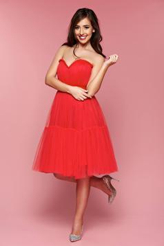 Rochie de ocazie fara maneci Ana Radu rosie accesorizata cu cordon