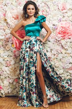 Bluza dama eleganta pe umar PrettyGirl turcoaz din material satinat