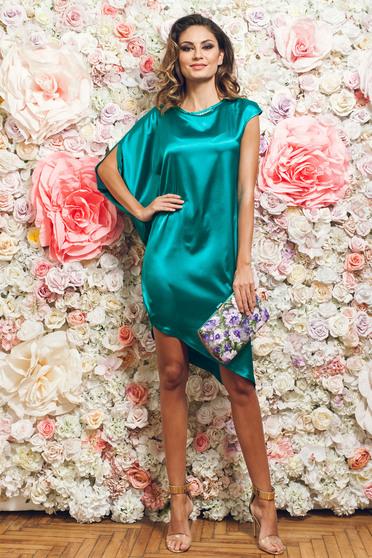 Rochie eleganta asimetrica PrettyGirl verde din material satinat