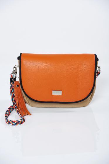 Geanta dama din piele naturala portocalie cu accesoriu metalic