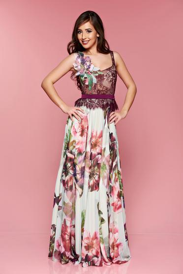 Rochie de ocazie lunga LaDonna mov din material dantelat cu imprimeu floral