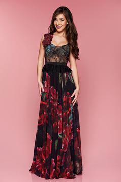 Rochie de ocazie lunga LaDonna neagra din material dantelat cu imprimeu floral