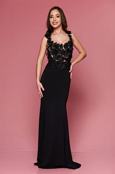 Rochie de ocazie brodata lunga LaDonna neagra cu decolteu