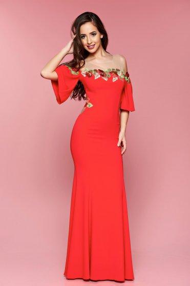 Rochie de ocazie brodata lunga LaDonna rosie cu maneci clopot