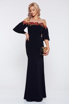Rochie de ocazie brodata lunga LaDonna neagra cu maneci clopot