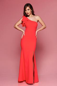 Rochie LaDonna rosie de ocazie lunga pe umar