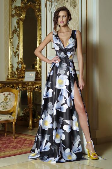 Rochie eleganta lunga in clos Artista neagra cu imprimeu floral