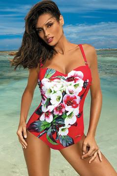 Costum de baie intreg cu push-up rosu cu imprimeuri florale