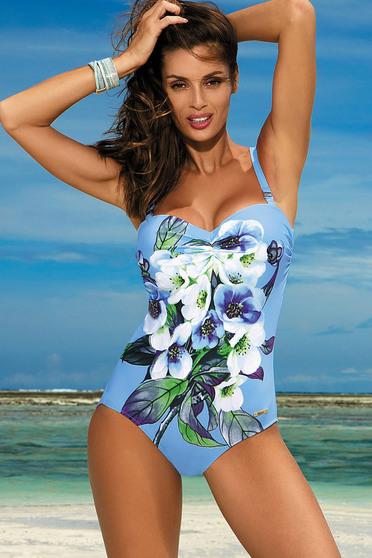 Costum de baie intreg cu push-up albastru-deschis cu imprimeuri florale