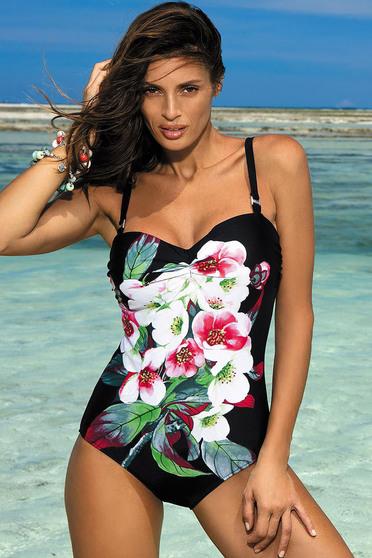 Costum de baie intreg cu push-up negru cu imprimeuri florale