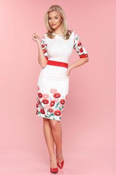 Rochie tip creion cu maneca 3/4 PrettyGirl rosie cu imprimeu floral