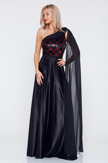 Rochie de ocazie pe umar PrettyGirl neagra din material satinat