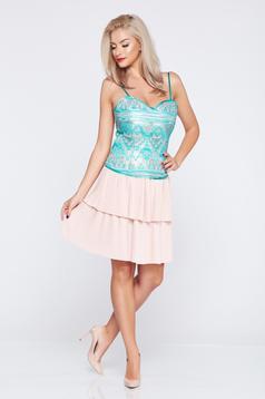 Fusta eleganta scurta PrettyGirl rosa cu pliuri de material