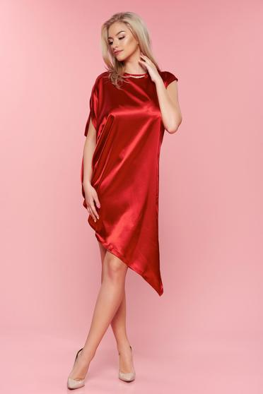 Rochie eleganta asimetrica PrettyGirl rosie din material satinat
