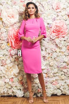 Rochie eleganta tip creion PrettyGirl roz cu maneci clopot