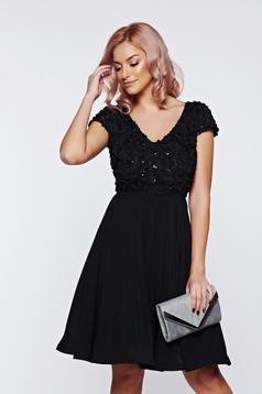 Rochie de ocazie neagra StarShinerS cu maneca scurta in clos