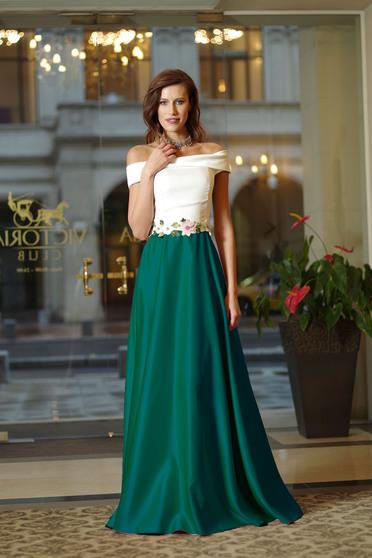 Rochie eleganta lunga Artista Alba cu insertii de broderie