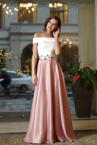 Rochie eleganta lunga Artista roz pal cu insertii de broderie