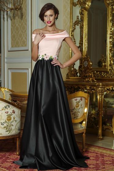 Rochie eleganta lunga Artista Piersica cu insertii de broderie