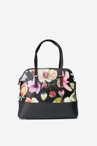 Geanta dama neagra cu imprimeuri florale