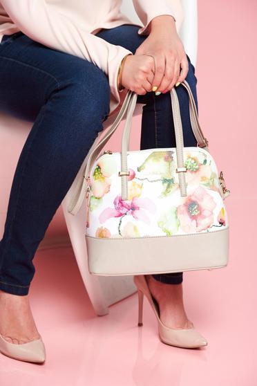 Geanta dama gri cu imprimeuri florale